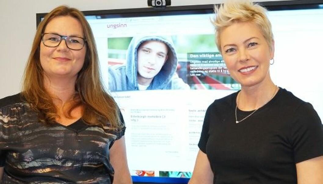 Redaksjonssjef Helene Eng (t.v) og redaktør Charlotte Reedtz er svært fornøyde med at Ungsinn har innfridd kravene og blitt vitenskapelig tidsskrift .  (Foto: Mariann S. Karlsen)