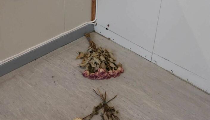 I kafeteriabygget står tiden stille. Kulehullene vitner om 22.-juli terroristens ugjerninger. Blomster, hjerter og annet får ligge for å minnes de som ble drept. (Foto: Foto: Gro Lien Garbo)