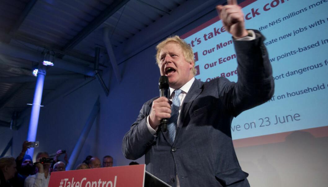23. juni skal britene stemme om Storbritannia skal forbli i EU eller melde seg ut. Boris Johnson (bildet), tidligere ordfører i London, er en av politikerne som fronter kampen for utmeldelse.  (Foto: Isabel Infantes/Pa Photos/NTB Scanpix)