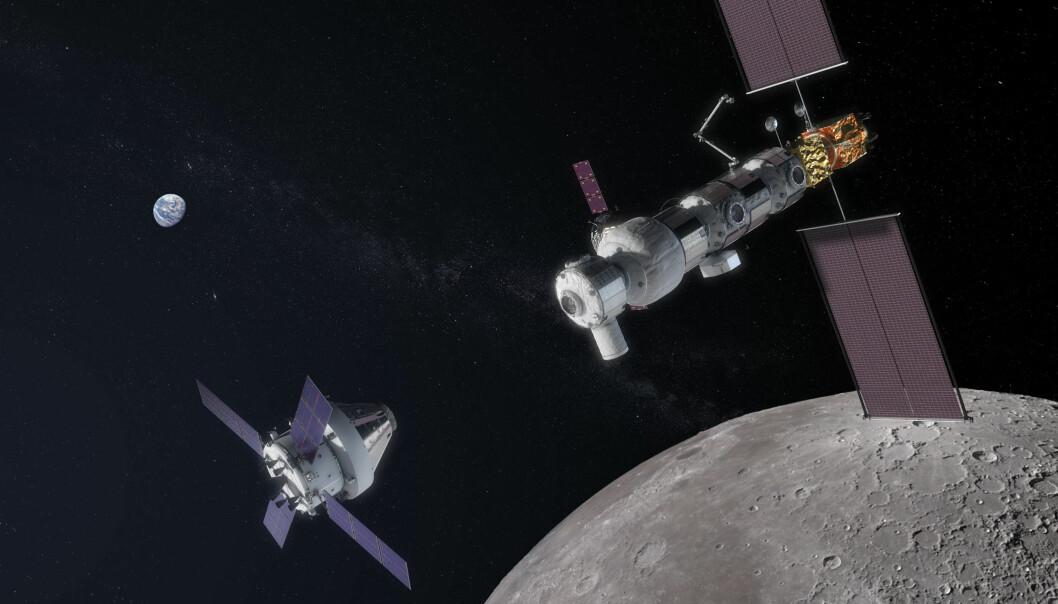 Slik kan en komplett Gateway se ut en gang i framtiden. Det bemannede romskipet Orion sees til høyre. (Bilde: NASA)