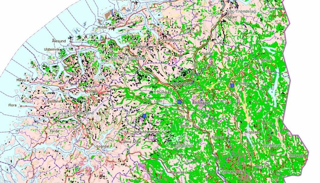 Slik kan permafrostkartet se ut. Eksperter kan bruke det til å lokalisere fjell som trolig har tint de siste tiårene eller vil tine de neste årene. (Skjermdump: NGU Permafrost)