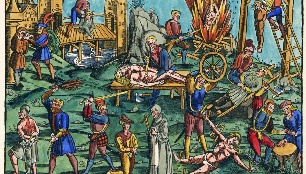 En tysk plansje fra 1512 som viser forskjellige henrettelses- og avstraffelsesmetoder fra middelalderen. Mange slike grusomme scener er avbildet, men det er få arkeologiske bevis. Plansjen er en del nyere enn massegraven i Tsjekkia. (Illustrasjonsbilde: Akg-images/NTB Scanpix)