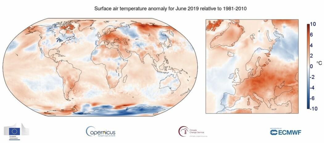 Kloden vår i juni. (Bilde: Copernicus Climate Service)