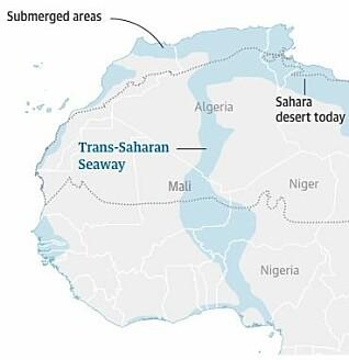 Den gamle sjøveien gjennom Sahara for 56–66 millioner år siden. (Grafikk: The Guardian)