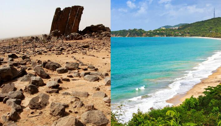 Maureen O'Leary forteller at klimaet i Sahara (bilde t.v) kunne sammenliknes med klimaet i Puerto Rico i dag (bilde t.h). (Foto: Yoann Morin og Dennis van de Water/Shutterstock/NTB Scanpix)