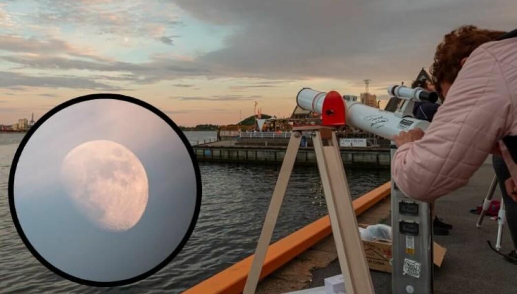 Slik kunne forbipasserende oslofolk og turister oppleve månen gjennom astrofysikernes teleskoper. (Foto: Alex Conu/astrographist.com)