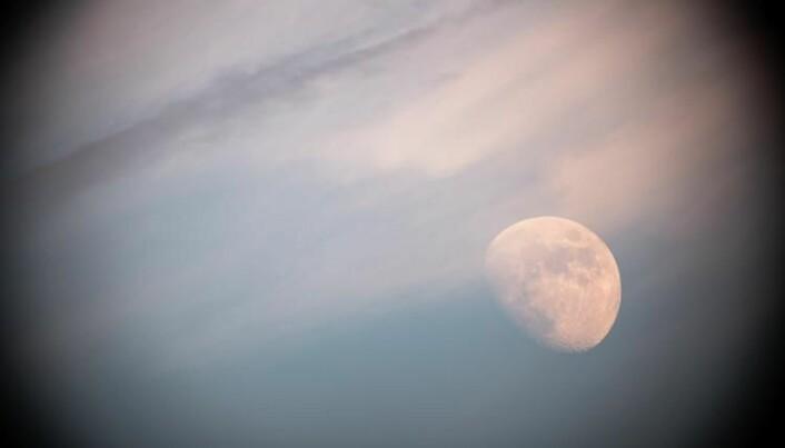 Månen sett gjennom teleskop fra havnepromenaden i Oslo. (Foto: Alex Conu/astrographist.com)