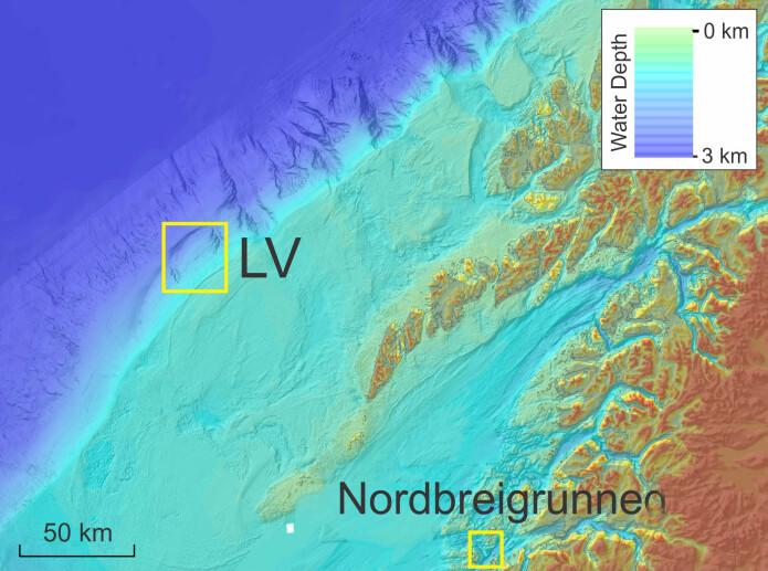 Her er det påvist ferskvann i sjøen, i to gjel utenfor Lofoten og på en fiskegrunne utenfor Meløy.