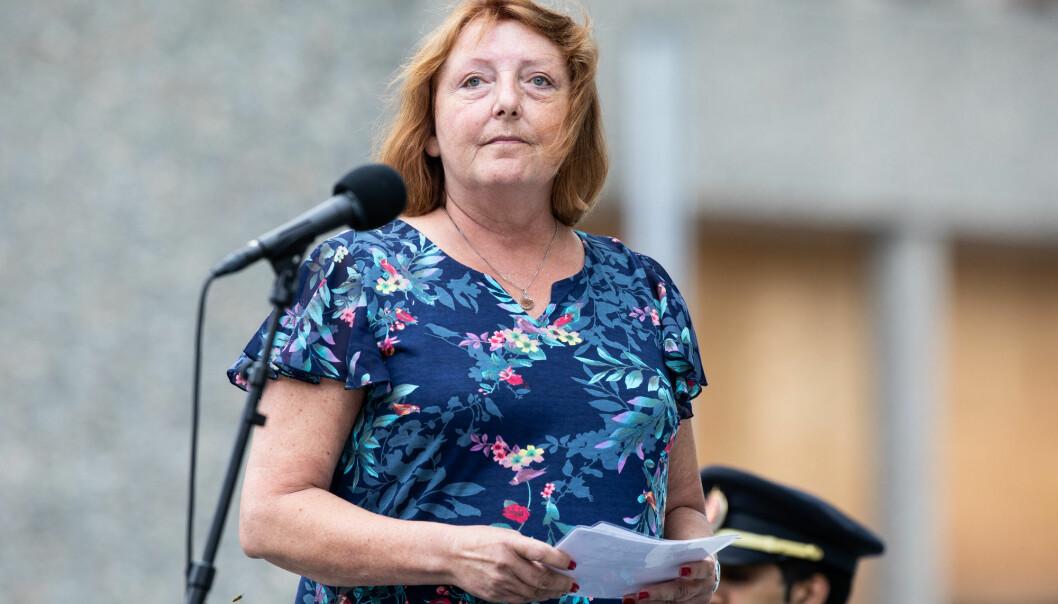 Lisbeth Kristine Røyneland, leder for Den nasjonale støttegruppen etter 22. juli, mener at det fremdeles trengs mer forskning og kartlegging av de overlevende etter terrorangrepet. Bildet er fra minnemarkeringen i Regjeringskvartalet i Oslo i 2018. (Foto: Foto: Audun Braastad / NTB scanpix)