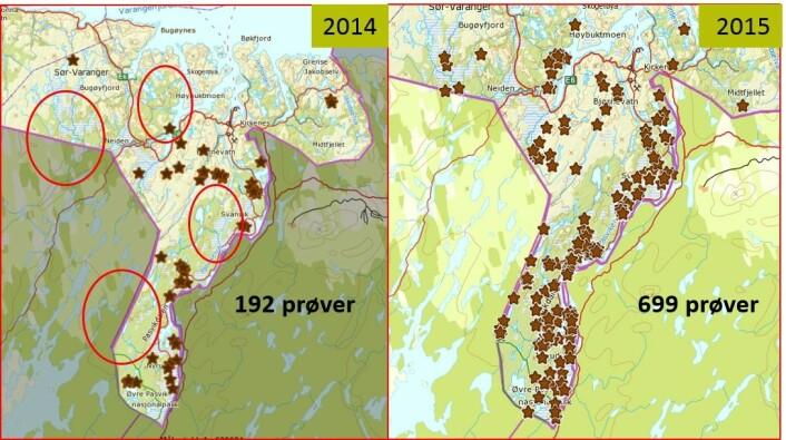 Innsamlingen i 2014 sammenlignet med innsamlingen i 2015. (Foto: Illustrert av Siv Grethe Aarnes)