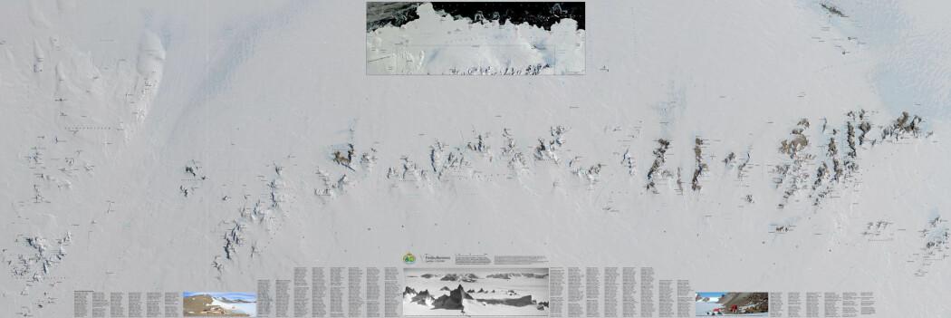 Vinnerkartet viser det mektige fjellområdet Fimbulheimen i Dronning Maud Land i Antarktis. (Kart: Anders Skoglund / Norsk Polarinstitutt)