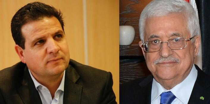 Palestinerne på Vestbredden ledes av Mahmoud Abbas (81).  Det palestinske samlingspartiet i Israel ledes av Ayman Odeh (41). (Foto: State Department/Wikipedia og Anan Maalouf/Wikipedia)