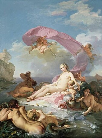 I den greske mytologien fortelles det om sjønymfer som rir på delfiner. Her poserer Amphitrite. Malt av Hugues Taraval i 1780, tilhører Mead Art Museum.