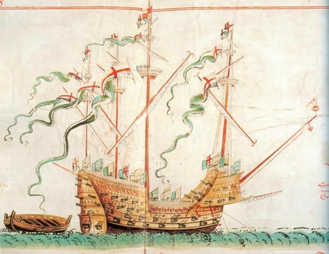 Et av de mest fascinerende funnene fra skipet Mars er den såkalte entrehaken som ble brukt til å hekte seg fast på fiendens skip. I illustrasjonen ser vi entrehaken på baugsprydet av det engelske krigsskipet Great Harry, som sank i 1553. (Illustrasjon: Wikimedia CC-PD)