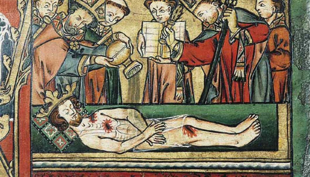 I Heimskringla er Klemenskirken kulisse for et mirakel: Når den døde kong Olav Haraldsson graves opp, er kroppen like hel og lukter godt. <i>Illustrasjon: Utsnitt fra Olavspanelet i Nidarosdomen</i>