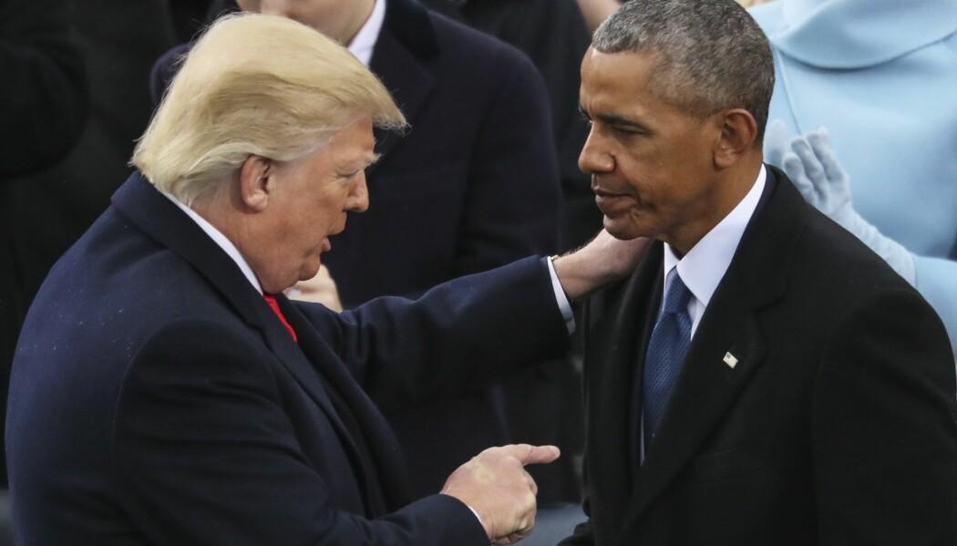 President Donald Trump fikk noen stemmer fra amerikanere som valgte tidligere president Barack Obama. Her er de to ved presidentinnsettelsen av Trump i 2017. (Foto: Andrew Harnik/AP/NTB scanpix)