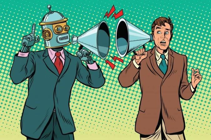 Snakkende roboter vil kunne ivareta oppgaver som for eksempel bankrådgivere eller andre tjenester, mener Thomas Bolander – selv om de kanskje aldri blir bevisste på et menneskelig nivå. (Illustrasjon: studiostoks / Shutterstock / NTB scanpix)