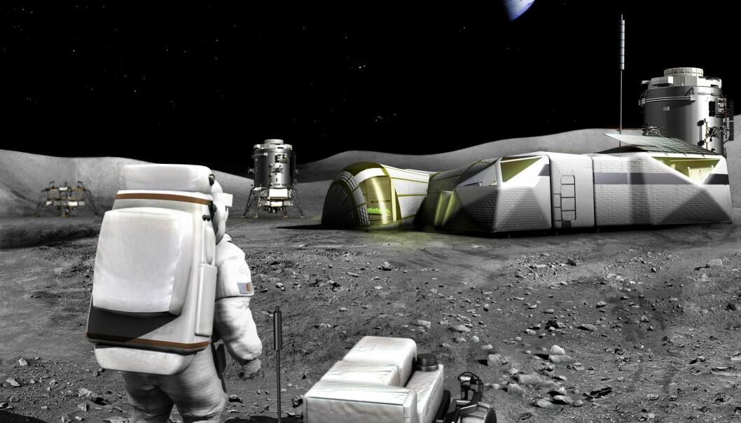 Romorganisasjonene vil bygge en base på månen. Men det er noen utfordringer som må løses. Natten på månen er opp til 16 dager lang, da blir det vanskelig å drive basen bare på solkraft. (Foto: ESA)
