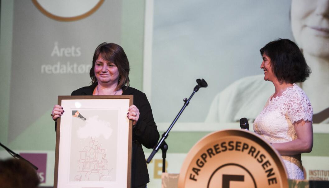 Nina Kristiansen ble hedret som årets fagpresseredaktør på Fagpresseprisene 2016 i Oslo. (Foto: Jon Olav Nesvold / NTB scanpix)