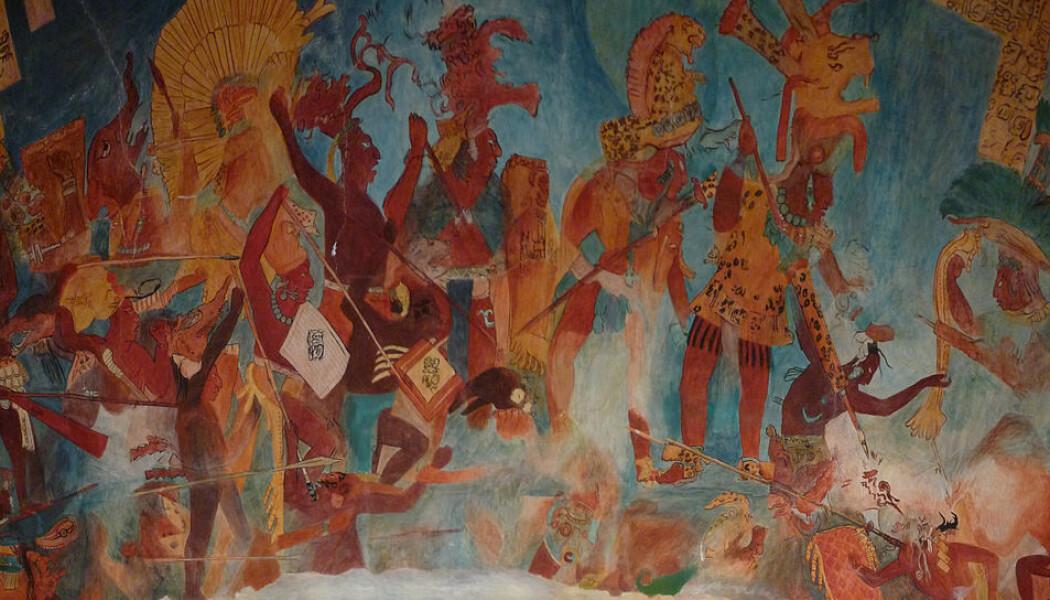 Reproduksjon av et stort Maya-veggmaleri fra Bonampak i Mexico. Det skal ha blitt laget en gang mellom 580 og 800 e.Kr, og viser tydelige krigsscener. (Bilde: El Comandante/CC BY-SA 3.0)