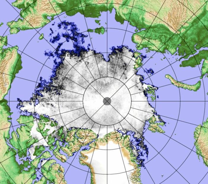 Dagens iskart for Arktis fra det japanske satellittinstrumentet AMSR2. (Bilde: PolarView/Univ Bremen)
