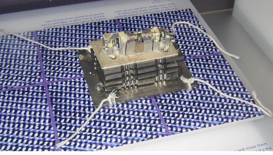 Det første atomkraftmikroskopet som ble bygget av Gerber, Quate og Binning på midten av 1980-tallet. (Foto: John Dalton/ CC BY-SA 3.0)