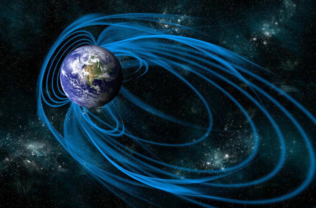 Jordas magnetfelt skifter retning med jevne mellomrom. Er det i ferd med å skje nå? (Illustrasjon: Marc Ward / Shutterstock / NTB scanpix)