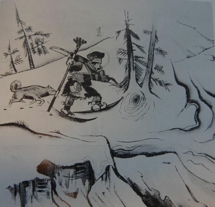 """En same på ski med spyd og bue og med hunden i hælene stanser foran en trerot. Et hull i snøen, pustehull til et bjørnehi!-Oppdagelsen gir mannen en glorie rundt hodet. Foto: Bildet tegnet av Ossian Elgström og hentet fra boken """"Bjørnens år"""" av Steinar Wikan"""