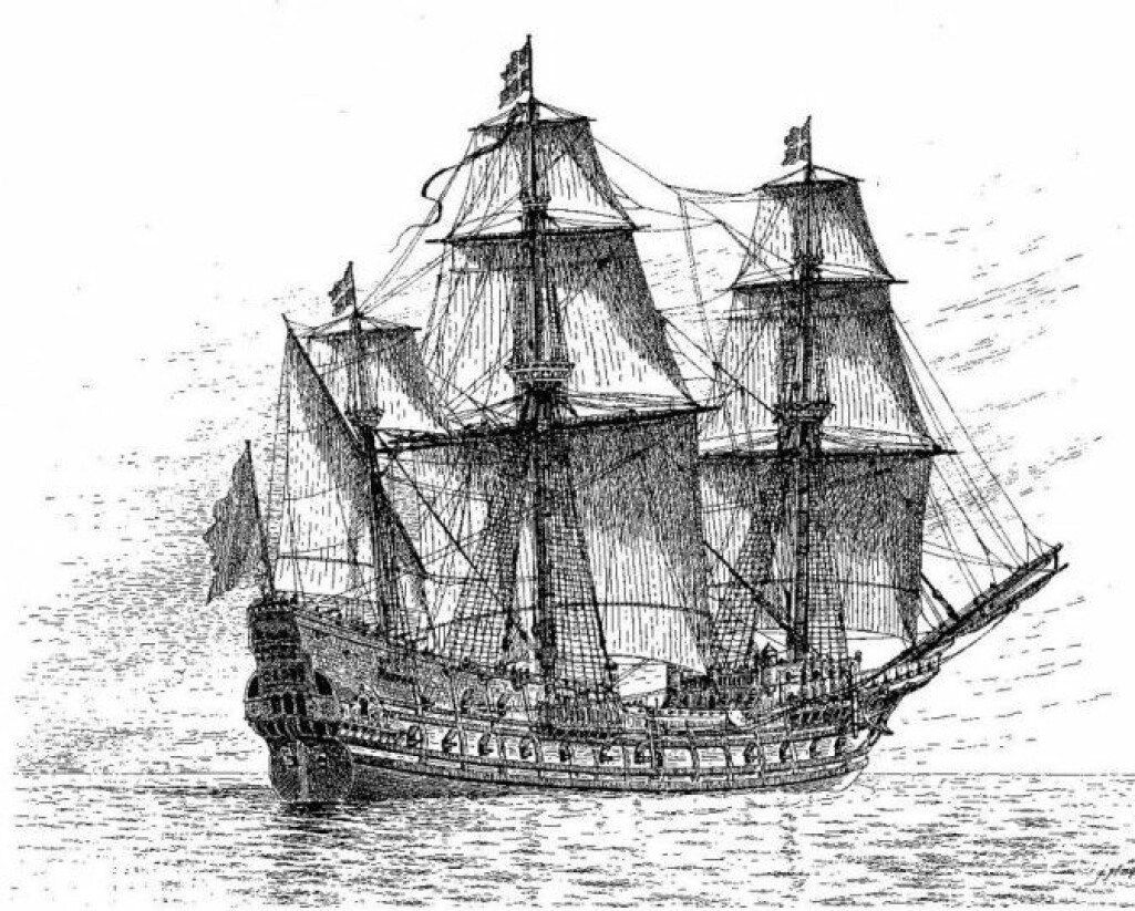 I Danmark var det gigantiske svenske krigsskipet Mars kjent som Jydehaderen. Det betyr danskehateren på norsk. (Tegning av Mars: Wikimedia CC-PD)