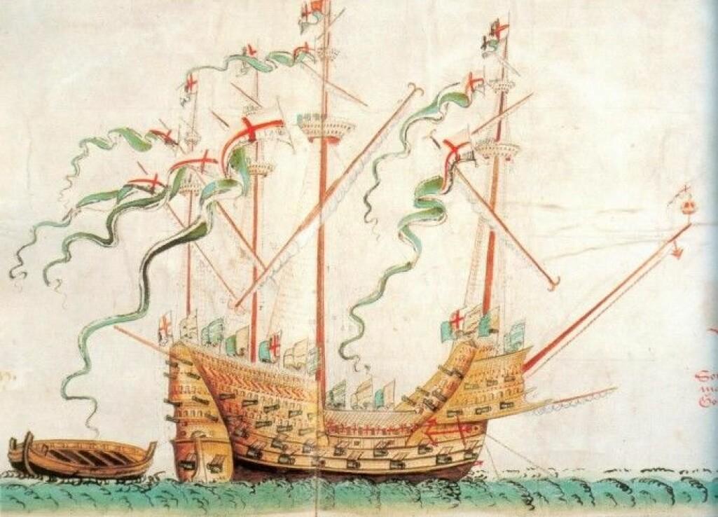 Her er det engelske krigsskipet Great Harry som sank i 1533. Der henger entrehaken på baugspydet foran på skipet. (Illustrasjon: Wikimedia CC-PD)