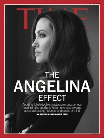 TIME Magazine omtalte Angelina-effekten allerede samme måned som hun stod frem med sitt valg om å fjerne begge brystene. (Foto: (Forside TIME Magazine 27.05.2013))