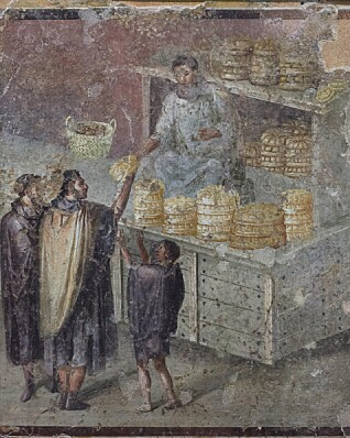 Kjøp og salg av brød på en fresco fra Pompeii. (Foto: Azoor Photo/Alamy Stock Photo)