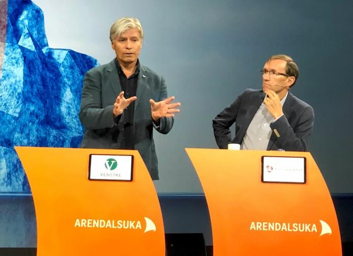 Klimaminister Ola Elvestuen (V) er opptatt av at vi får enkeltpersonene i samfunnet til å tro på klimaløsninger. Espen Barth Eide (A) mener vi må tørre å beskatte mer.