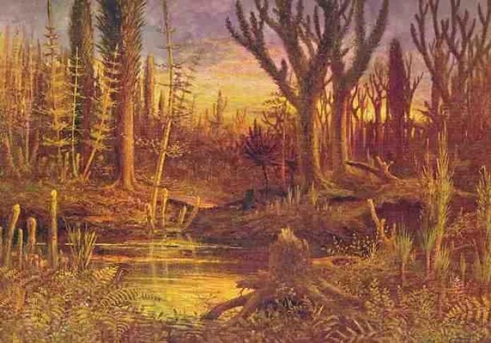 Slik har en kunstner forestilt seg en skog i devon med tidlig vegetasjon av sporeplanter. Vi ser både bregner og kjempestore sneller. (Illustrasjon: Eduard Riou)