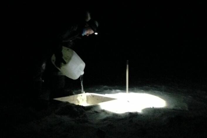 Hver dråpe vann som forskerne brukte måtte fraktes ut med snøscooter. (Foto: Brage B. Hansen, NTNU)