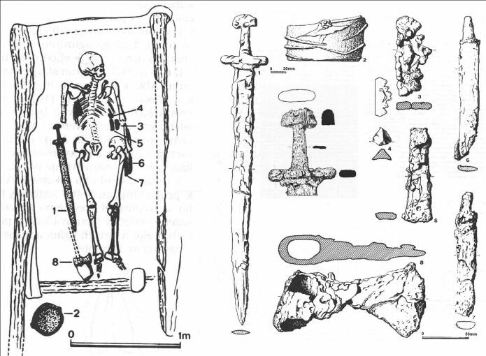 Oversikt over graven og innholdet. Sverd, en bøtte, flere kniver. Fyrstålet var ganske nedbrutt, men er nr. 3 på plansjen. (Bilde: Basert på Vlcek/1977/ Saunders et al/Antiquity 2019).