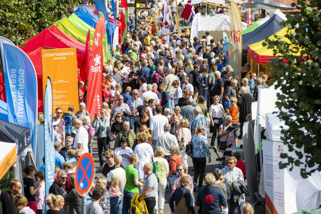 Arendalsuka er en årlig begivenhet hvor aktører innenfor politikk, samfunns- og næringsliv møter hverandre og folket. Hele Arendal tas i bruk til forskjellige arrangementer. (Foto: Håkon Mosvold Larsen / NTB scanpix)