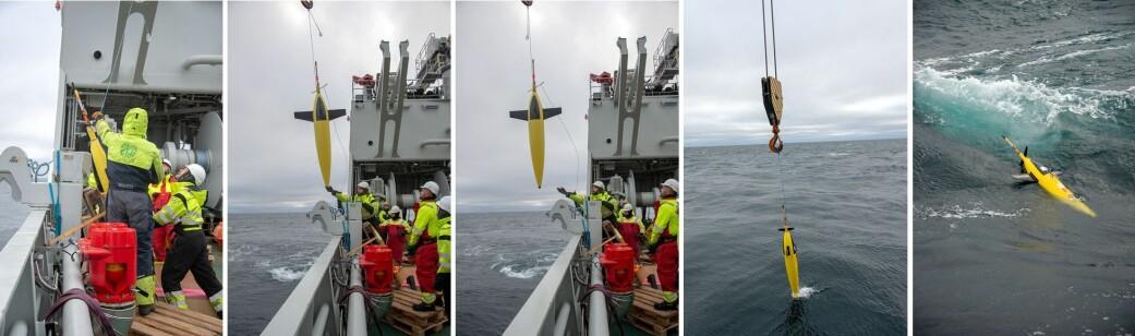 Utsetting av en glider fra om bord forskningsskipet «Kronprins Haakon». (Foto: Rudi J. M. Caeyers, UiT / The Nansen Legacy)