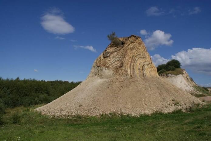 Moler er perfekt til bevaring av fossiler, siden dyrene blir innkapslet i oksygenfrie miljøer. Dessuten viser lagene hvilket tidspunkt dyret er fra. Her er det moler på Fur. (Foto: Slaunger/Wikimedia Commons)