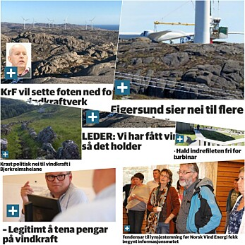 Lokalt i mange kommuner raser debatten for og imot vindkraft. Alle klippene her er fra Dalane Tidende. (Montasje: forskning.no)