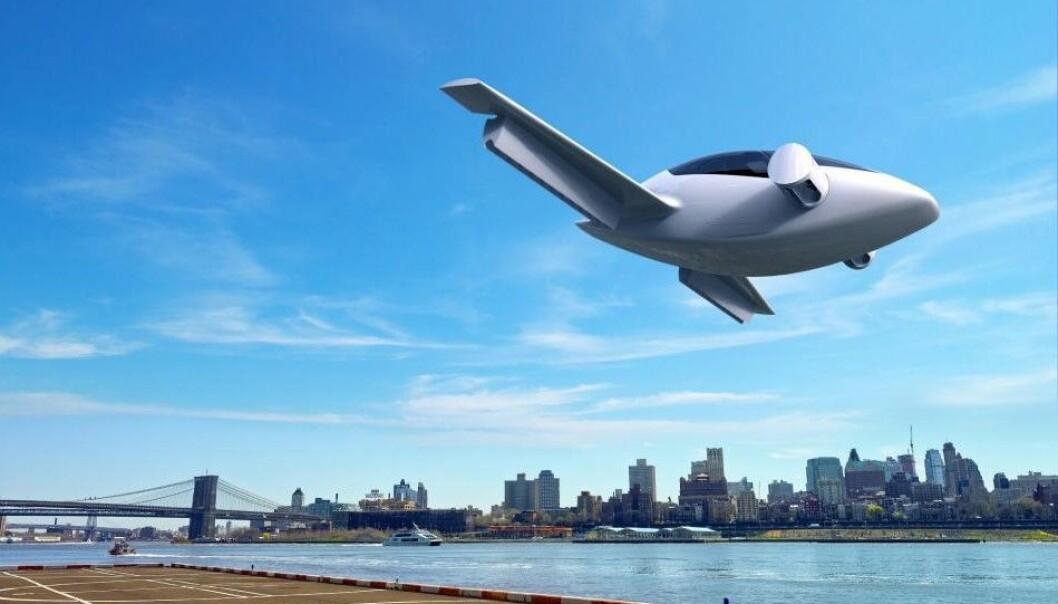 Dette lille elektriske flyet kan ta av og lande vertikalt på små områder som hager og hustak og brukes av privatpersoner i byen. Det utvikles av det tyske firmaet Lilium i samarbeid med den europeiske romorganisasjonen ESA. (Illustrasjon: Lilium)