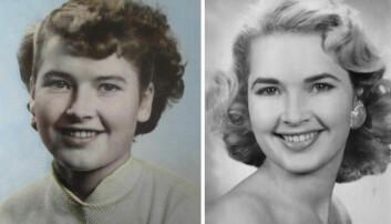 Flere tusen unge, ugifte kvinner fra Agderfylkene dro til USA de første tiårene etter andre verdenskrig. De fleste la raskt om klesstilen og hårfrisyren til amerikansk mote og kultur, slik som denne unge kvinnen. Bildet til venstre viser hennes tenåringsutseende i Norge, og til høyre hvordan hun endret stil i USA.  (Foto: privat, montasje: Arnfinn Christensen, forskning.no)