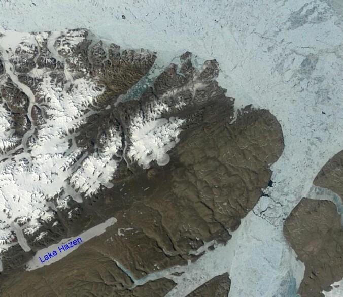 Lake Hazen ligger på en øy nord i Canada. (Bilde: NASA).