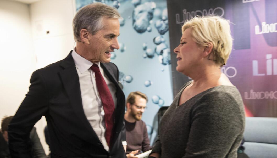 Velgerne misliker at politikere angriper hverandre. Her er Jonas Gahr Støre (Ap) og Siv Jensen (Frp) under valgkampen ved forrige valg i 2017. (Foto: Vidar Ruud/NTB Scanpix).