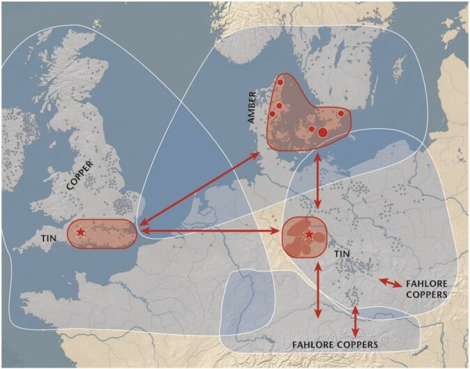 Modell av de antatte handelsforbindelsene i Nord-Europa omkring år 2000 f.v.t. (Illustrasjon: Nørgaard & Vandkilde et al., 2019)