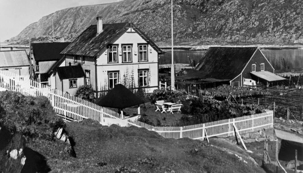 Britiske Florrie Figenskaugs frodige hage i havgapet på ytterkysten av Troms, ble etablert på 1920-tallet og vist fram i en artikkel i bladet Vi selv og våre hjem i 1938.  (Foto: Edvard K. Barth, Tromsø Museum – Universitetsmuseet)