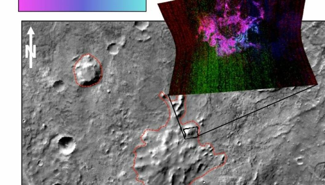Formasjonen kan ha vært en vulkan som hadde utbrudd under isen. Mineralene som forskerne har funnet tyder på dette, som du kan se i bildet oppe til høyre. (Bilde: NASA/JPL)