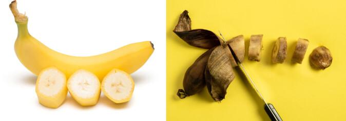Bananen til venstre er mat pluss et skall vi ikke spiser. Skallet er matavfall. Bananen til høyre har råtnet og blitt til matsvinn. Skallet er fortsatt matavfall. (Foto: Shutterstock / NTB scanpix)