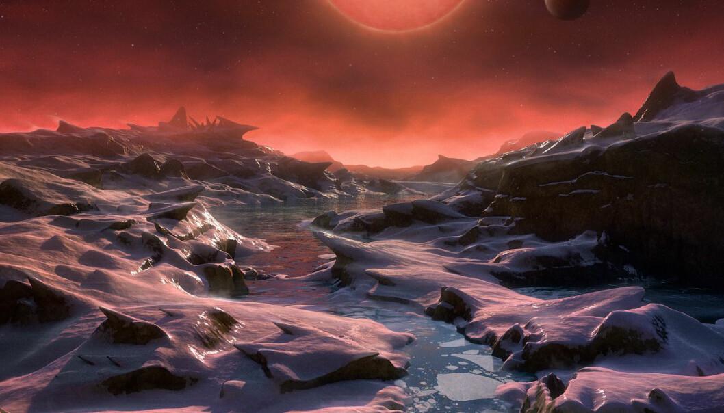 Kanskje ser det slik ut på en av planetene som kretser rundt TRAPPIST-1? Egentlig litt for kaldt, men likevel med noe flytende vann og muligheter for liv.  (Illustrasjon: ESO/M. Kornmesser)