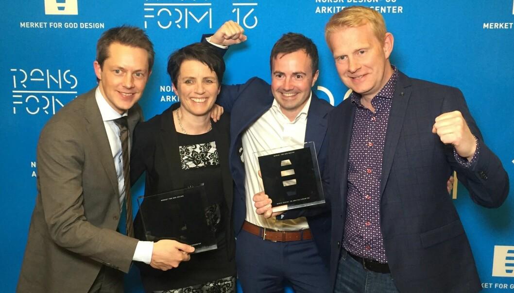 Glade vinnere: Fra venstre Ole Petter Næsgaard (SINTEF), Margrethe Engan Gjære (Protex), Tore Christian Bjørsvik Storholmen (SINTEF) og Jens Christian Hernes (Protex). (Foto: Jarl Reitan)